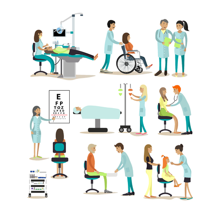 Vector set of doctors and patients characters isolated on white background. People in hospital. Medical check up, surgery.