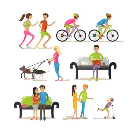 persona caminando: Vector conjunto de personajes de dibujos animados aislados en el fondo blanco. La gente en los elementos de diseño del parque y los iconos de estilo plano. Trotar, montar bicicleta, caminar a los perros.