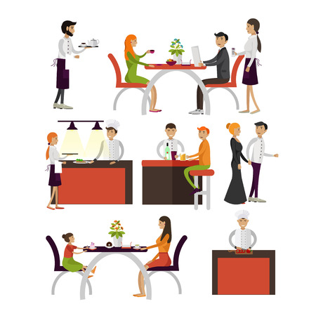 visitors: Vector set of cartoon characters isolated on white background. People in restaurant design elements and icons in flat style. Restaurant waiters employees and visitors.