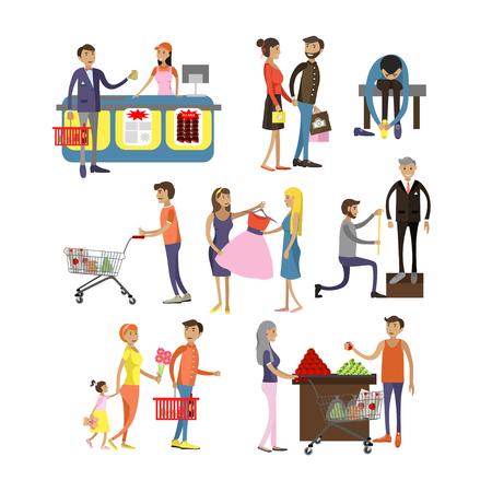 Vector conjunto de personajes de dibujos animados aislado sobre fondo blanco. Gente de compras en elementos de diseño de centro comercial y los iconos de estilo plano.