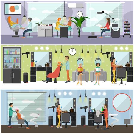 Salón de belleza concepto interior vector banners. Corte de pelo, manicura y maquillaje atelier. Las mujeres en el spa y salón de belleza ilustración en estilo de dibujos animados plana. Foto de archivo - 64940405