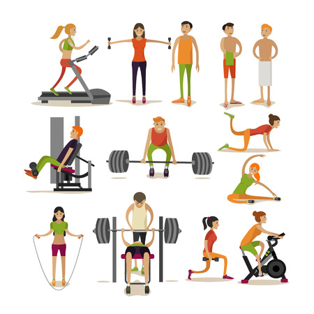 Vector set of people in gym characters isolated on white background. Fitness and workout exercise in gym. Icons in flat style isolated on white background.