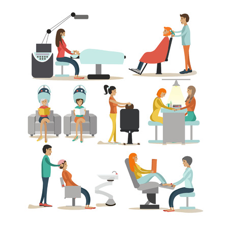 atelier: Vector set of beauty salon characters isolated on white background. Haircut, manicure, cosmetic and make up atelier. Women in beauty studio illustration in flat cartoon style.