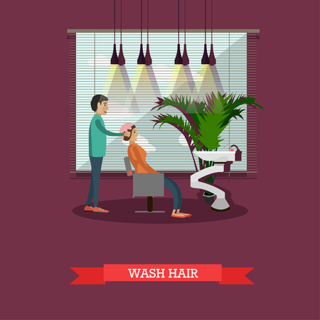 hair dresser: Beauty salon concept banners. Customer in studio washing hair illustration in flat cartoon style. Illustration