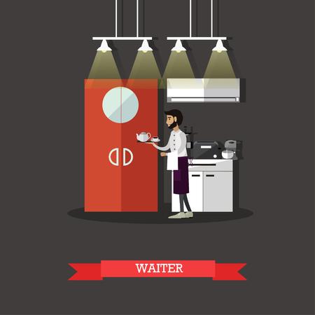 restaurant interior design: Waiter holds a tray with tea cup. Restaurant concept illustration in flat style design. Kitchen interior.