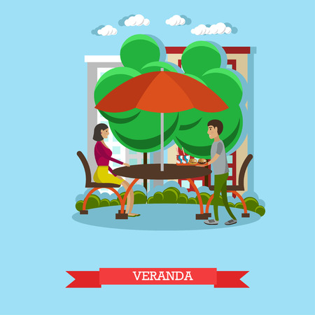 veranda: People having lunch on veranda. Vector illustration in flat style design. Street cafe concept poster. Stock Photo