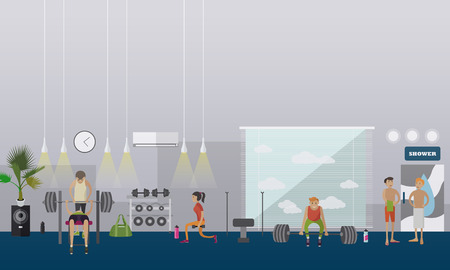 gym room: Fitness center interior illustration. People work out in gym horizontal banners. Sport activities concept.