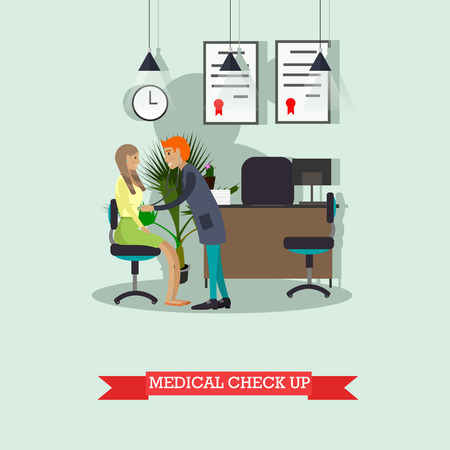 conduct: Doctor conduct patient medical check up. Doctor cabinet interior.