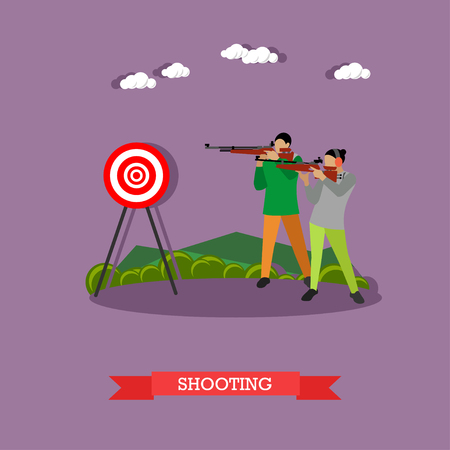 Sport shooting range banner. Competition games illustration. People in shooting positions.