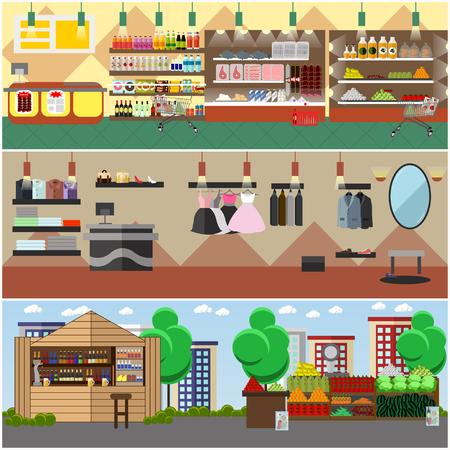 Einkaufen in einem Geschäft und lokalen Markt-Konzept Banner. Bunte Vektor-Illustration. Lebensmittelgeschäft, Mode-Boutique und Straße Basar Interieur. Vektorgrafik