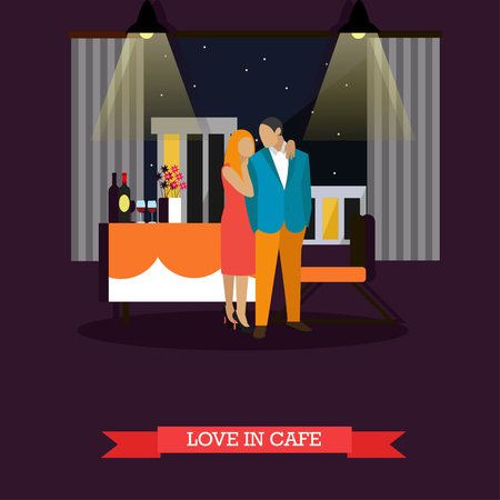 romantic couple: Celebrating romantic couple in restaurant. Vector illustration in flat style.