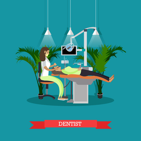 orthopedist: Dentist works with patient vector poster. Dental clinic concept.