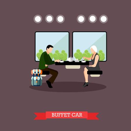 train table: Passengers in train restaurant. Railway car interior. Vector concept poster.