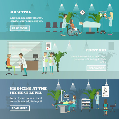 check room: Horizontal vector banners with doctors and patients in hospital. Medicine concept. Patients passing medical check up, surgery operation room. Flat cartoon illustration.