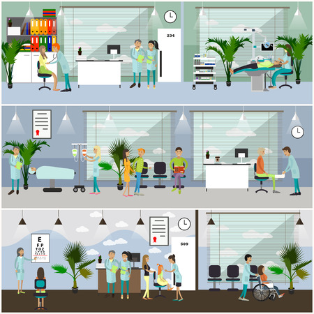 operation room: Horizontal vector banners with doctors and hospital interiors. Medicine concept. Patients passing medical check up, surgery operation room. Flat cartoon illustration. Illustration