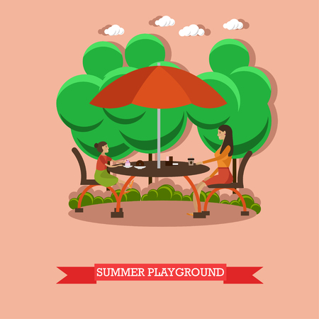 family gardening: Mother and her daughter sit on the restaurant summer terrace under umbrella. Family in street cafe vector illustration in flat style design. Illustration