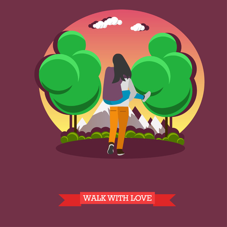 Man carry his girlfriend on his back. Romantic happy couple concept vector illustration.