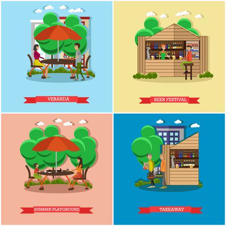 veranda: Street food concept vector posters. People sell food from stalls in park. Street cafe concept. Restaurant summer terrace under umbrella