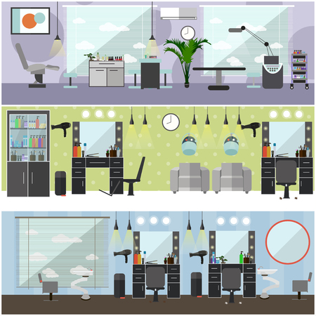 horizontal haircut: Beauty salon interior vector concept banners. Haircut, manicure and make up atelier. Illustration