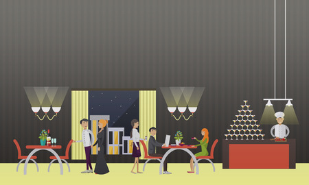 dinner party people: Vector banner with restaurant interior. People having dinner in cafe. Party concept.