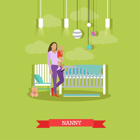 nanny: Nanny with a child. Nursery room interior. Vector illustration in flat style. Baby room with cradle. Illustration
