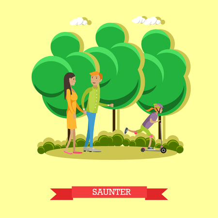 leisurely: A leisurely walk with family in a park concept vector illustration in flat style. People in a outdoor city park.