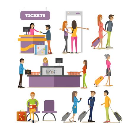 Vector set of people characters in airport terminal. Airline passengers passing security control, buying tickets and waiting for boarding.