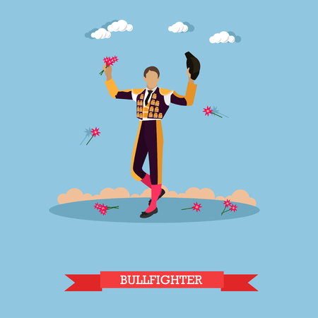 Man in spanish torero dress. Matador on arena for bullfighting. Vector concept poster.