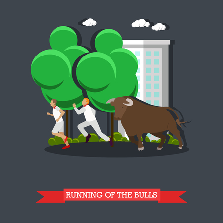 Running of the Bulls concept vector poster in flat style. People running in front bull in Spain.