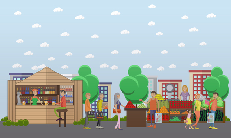 Street food market. Vector banner in flat style design.