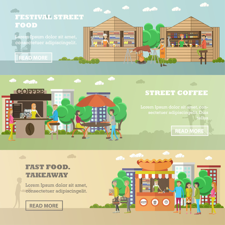 Street food festival concept vector banners. People sell food from stalls in park. Street cafe concept.