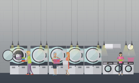 laundry room: People in self-service laundry service vector poster. Laundry room interior banner. Illustration