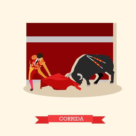 the matador: Spain Corrida concept vector illustration. Bull and a matador. Illustration