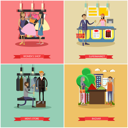customer tailor: People shopping in a store concept posters. Colorful vector illustration. Customers buy products in food supermarket, trying clothes. Illustration