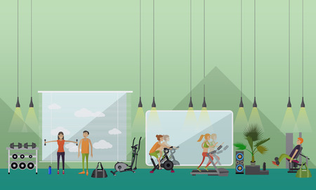 Fitness center interior vector illustration. People work out in gym horizontal banners. Sport activities concept.