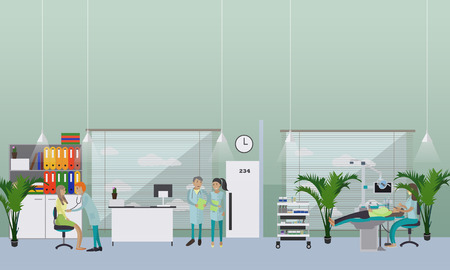 Dental clinic interior concept. Dentist works with patient vector poster.