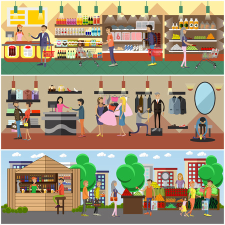 trying: People shopping in a store and local market concept banners. Colorful vector illustration. Customers buy products in food supermarket, trying clothes.