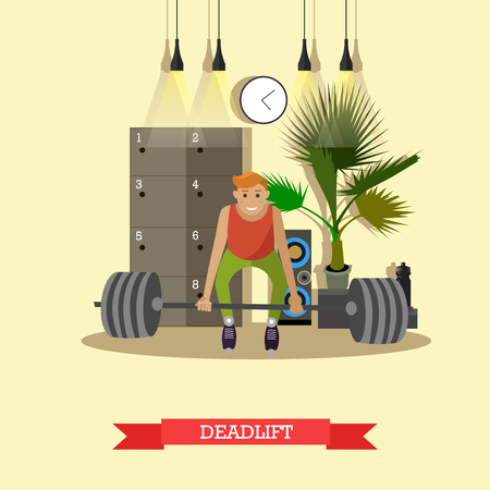 Deadlift. Man working out in a gym. Healthy lifestyle concept vector illustration in flat style. Fitness and sport equipment.