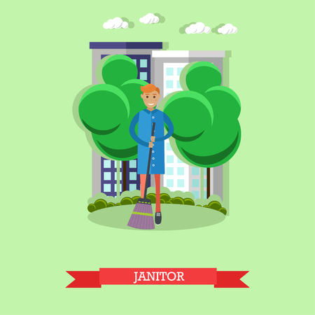 janitor: City janitor concept vector illustration. Man cleaning street.