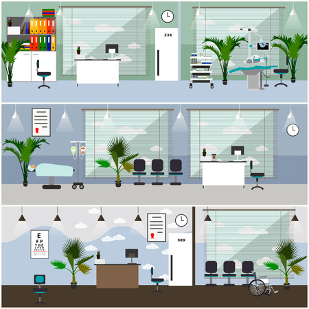 operation room: Horizontal vector banners with hospital interiors. Medicine concept. Medical check up and surgery operation room. Flat cartoon illustration. Illustration