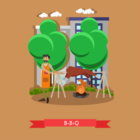 barbecue stove: Roasted lamb meat on a spit. BBQ pig grilled on fire. Vector illustration. Illustration