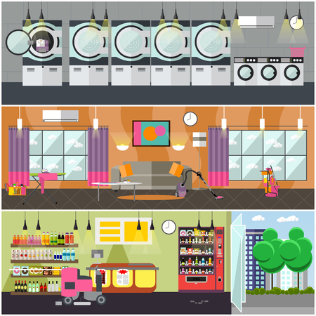 inside house: Vector set of cleaning service concept banners.