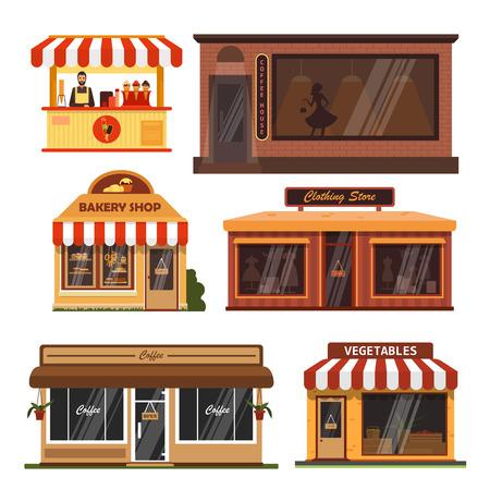 Vektorsatz Geschäftsgebäude. Shopdesignelemente und -ikonen in der flachen Art lokalisiert auf weißem Hintergrund. Coffee Shop, Bäckerei, Lebensmittelgeschäft, Eis. Vektorgrafik