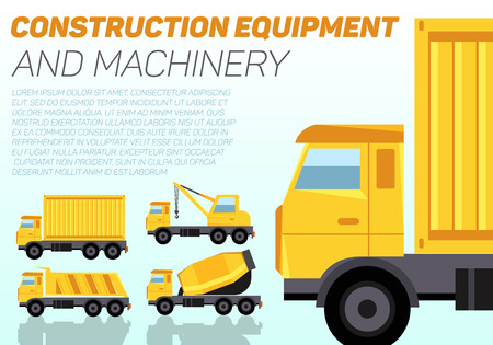 Web banner with construction machinery and sample text. Four trucks cargo container, crane, tipper and concrete mixer. Flat style vector illustration. Illustration
