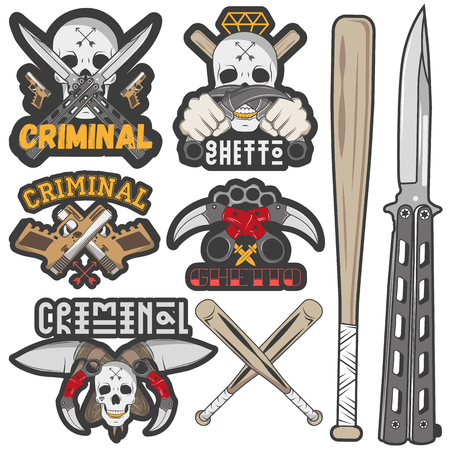 butterfly knife: Set of agressive gang and criminal badges. Skulls, crossed knives, pistols and baseball bats, sample text. Flat graphic style vector image.