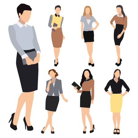 Collection of seven woman silhouettes, dressed in business style. Formal blouse, narrow skirt, high heels, different poses. Flat style vector image. Illustration