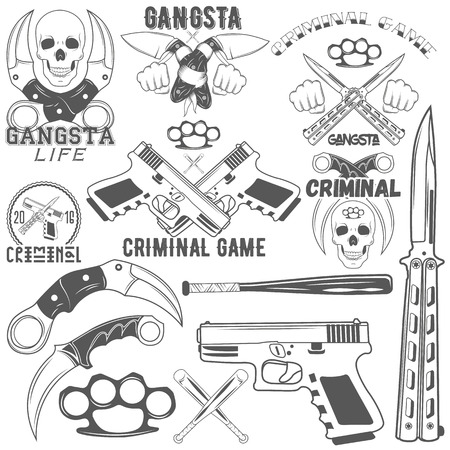 butterfly knife: Set of agressive gang and criminal  . Skulls, crossed knives and pistols, baseball bats, brass knuckles, sample text. Flat graphic style vector image. Illustration