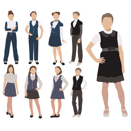 Vector set of pupils silhouette in school uniform isolated on white background. Female school dress code clothes. Illustration