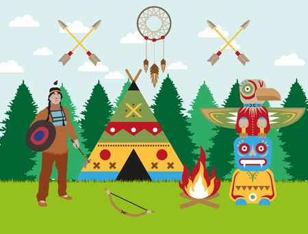 Traditional american indian forest landscape warrior with shield, tomahawk and bow, wigwam, bonfire and totem. Indian symbols dreamcatcher and crossed arrows. Flat style vector image.