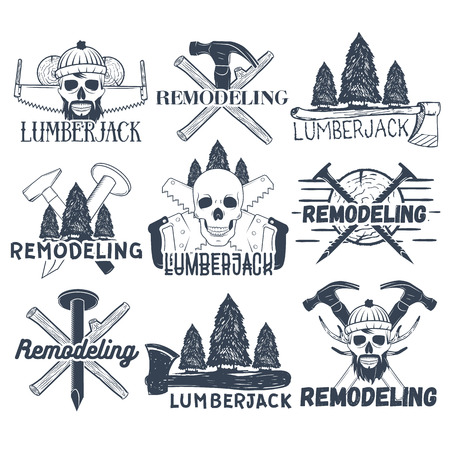 hatchet man: Set of lumberjack, carpenter and remodelers  . Skulls, logs, crossed axes, hammers, saws and nails, sample text. Flat graphic style vector image. Illustration